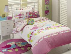 Sitting Pretty Owls girls quilt cover set