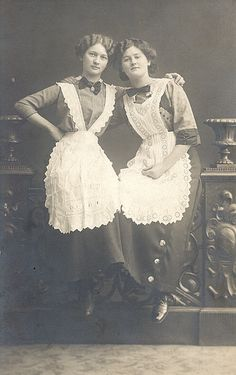 The Domestic Servant Two german maids, Photographer: Hans Schmitt, Windsheim Vintage Photos Women, Vintage Pictures, Vintage Photographs, Old Pictures, Old Photos, Vintage Ladies, Aprons Vintage, Vintage Dresses, Victorian Maid