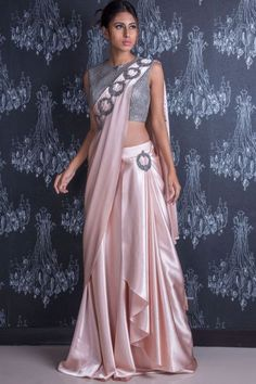 Buying it for you and Peach Cutdana Embroidered French Lycra Saree Online Indian Gowns Dresses, Indian Fashion Dresses, Dress Indian Style, Indian Designer Outfits, Pakistani Designer Clothes, Saree Designs Party Wear, Saree Blouse Designs, Stylish Sarees, Stylish Dresses