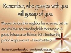 Remember, who gossips with you will gossip about you.