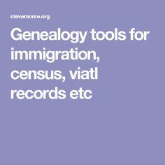 Genealogy tools for immigration, census, viatl records etc