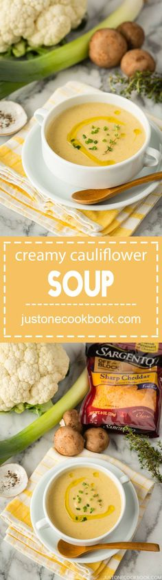 Rich and creamy roasted cauliflower soup made with leek, cremini mushroom, and cheddar cheese. Creamy Cauliflower Soup, Roasted Cauliflower, Cauliflower Recipes, Low Carb Recipes, Soup Recipes, Easy Recipes, Cooking Recipes, Easy Japanese Recipes, Soups And Stews