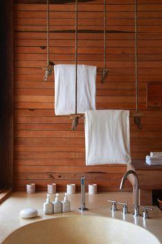 Hanging towel racks at Six Senses Con Dao, Vietnam. http://www.sixsenses.com/resorts/con-dao/accommodation/villas-and-suites
