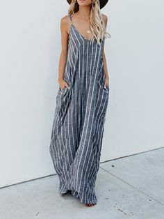 Women Casual Spaghetti Straps Striped Long Maxi Dress - All About Striped Maxi Dresses, Plus Size Maxi Dresses, Casual Dresses, Formal Outfits, Blue Maxi, Casual Attire, Casual Outfits, Outfit Formal Mujer, Missy Dresses