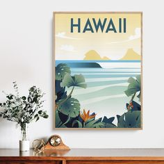 """""""Hawaii Beach America Travel Travel Canvas Painting Coastal Decor Vintage Wall Art Poster Prints Home Decoration Picture Gift"""" Picture Gifts, Hawaii Beach, Decorating With Pictures, Home Decor Paintings, Beach Wall Art, Vintage Wall Art, Pictures To Paint, Coastal Decor, Canvas Wall Art"""