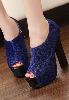 ]Elegant Classy Peep-toe Solid Color Platform High-heeled Sh