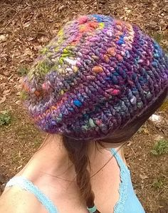 Handspun Knitted Slouch Hat Wildflower
