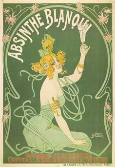 "Mucha style -""  #AbsintheBlanqui"" Illustration in style of ""Alphonse Mucha"""