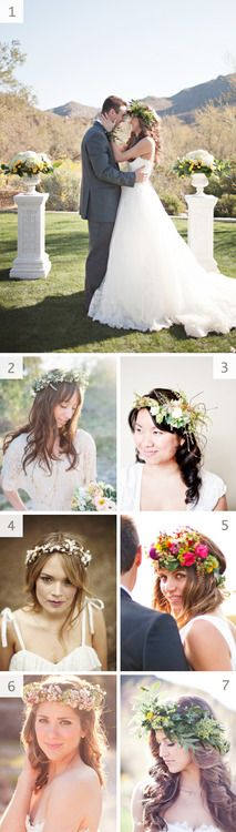 I like the idea of a floral headpiece but I would definitely do something small and subtle