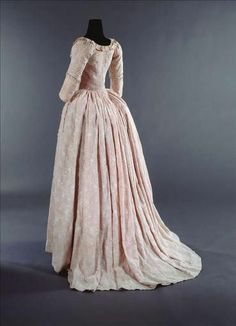 1785-90 Sheer embroidered cotton muslin lined with pink silk taffeta