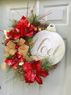 Cxy DIY Merry Christmas Banners Bunting Garlands for Holiday Party Decoration, Christmas Home Decor. - My Cute Christmas Poinsettia Wreath, Christmas Ornament Wreath, Christmas Door Wreaths, Holiday Wreaths, Christmas Home, Christmas Holidays, Christmas Crafts, Holiday Decor, Christmas Music