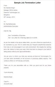 Employment Termination Letter Template Pleasing Employee Termination Letter Employee Termination Agreement .