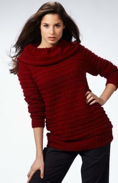 Long Raglan Sweater Free Knitting Pattern from Red Heart Yarns