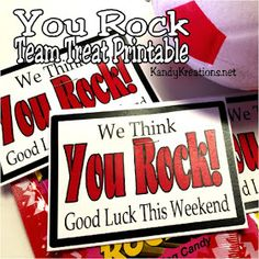 Treat your team to a sweet treat with this Good Luck Pop Rock printable. Using some candy and a little bit of fun you can rock your team really easy and wish them Good Luck for their weekend games. Cheerleading Treats, Cheer Treats, Soccer Treats, Football Treats, Football Spirit, Football Cheer, Volleyball Team, Cheer Snacks, Volleyball Crafts