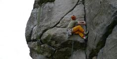 Gritstone laybacking on Almscliffe Crag