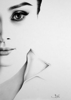 Minimal portrait of Audrey Hepburn. Fine Art Print after an original drawing by Ileana Hunter. SIZE: A3 ( 29.7 x 42.0 cm, 11.69 x 16.53 inches )