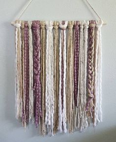 Macrame diy - Boho Wall Hanging in Frosted Plum, White, Cream and Oatmeal Yarn Boho Nursery Minimalist Decor Boho Chic Nursery Decor Wall Decor Yarn Wall Art, Yarn Wall Hanging, Diy Wall Art, Wall Hangings, Tapestry Wall Hanging, Boho Nursery, Nursery Decor, Décor Boho, Boho Chic