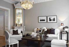Stunning Gray White Living Room Decor Ideas – Home Decor Ideas Grey Walls Living Room, French Living Rooms, Living Spaces, Decor Room, Living Room Decor, Home Decor, Wall Decor, Light Grey Walls, Gray Walls