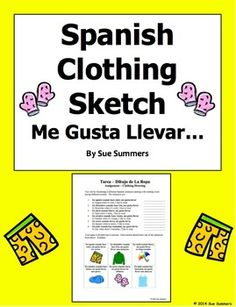 Spanish Clothing, Months, and Weather Sketch Worksheet by Sue Summers