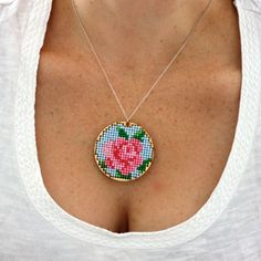 Rose Cross Stitch Pendant -- buzzmills