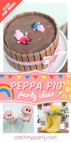 Take a look at this sunny Peppa Pig birthday party! The centerpiece is so cute! See more party ideas and share yours at CatchMyParty.com #catchmyparty #partyideas #peppapig #peppapigparty #girlbirthdayparty