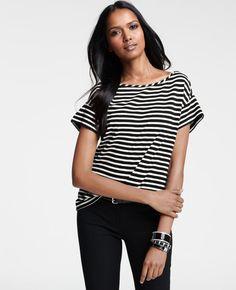 Striped Short Sleeve Ponte Top