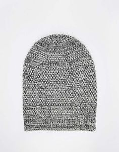 ASOS+Slouchy+Beanie+In+Black+And+White+Texture+Twist