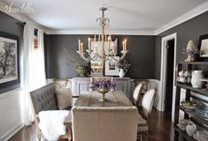 Our bench from @homegoods has always been one of our favorite finds and nicely accents the dark gray walls in our dining room. Paint color is Kendall Charcoal.