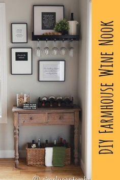 DIY farmhouse inspired wine nooke