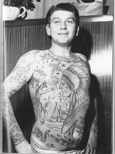 Member of the Bristol England Le Skuse Tattoo club - 1950s