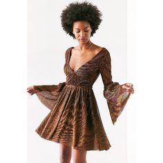 Ecote Starstruck Glitter Bell-Sleeve Mini Dress ($40) ❤ liked on Polyvore featuring dresses, circle skirt, mesh dress, bohemian dresses, boho dresses and short sparkly dresses