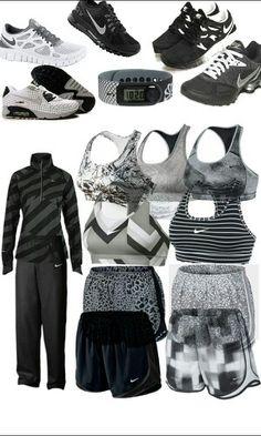 Black silver white Nike outfits