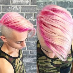 Ridiculously hot pink hair.