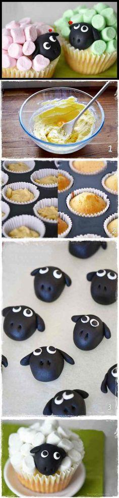 Mini cupcakes ovejitas de nube