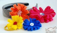 Faça facilmente uma tiara com flor de feltro