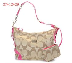 22108b146b Coach New Madison Signature Sateen Shoulder Bag Pink Women s Summer  Fashion