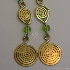 Brass Wire Color Bead Swirl Earrings Green