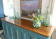 Heir and Space: A Vintage Hutch Base turned Media Console Repainting Furniture, Furniture Redo, Painted Furniture, Vintage Hutch, Decoration, Console, Glass Vase, Base, Design
