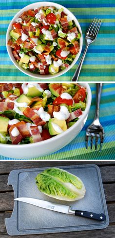 Bacon, Lettuce, Tomato & Avocado Chopped Salad with Homemade Skinny Buttermilk Ranch Dressing