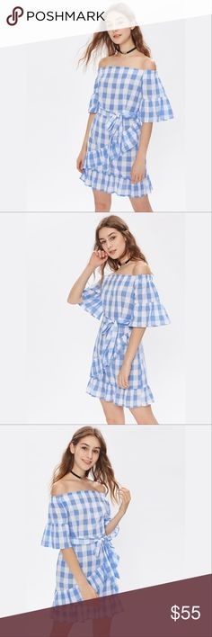✨Bardot Tie Waist Grid Ruffle Trim Dress✨ ✨ Material:100% Polyester Color:Blue Pattern Type:Plaid Neckline:Off the Shoulder Style:Vacation, Sexy, Cute Silhouette:Sheath Decoration:Ruffle Sleeve Length:Half Sleeve Dresses Length:Short Fabric:Fabric has no stretch Season:Spring, Fall Belt:YES Bust(Cm):M:94cm Waist Size(Cm):M:72cm Hip Size(Cm):M: 98. Cm Length(Cm):M:77cm Sleeve Length(Cm):M:28.5cm Cuff(Cm):M:56.6cm, Size Available:M✨ Dresses Mini