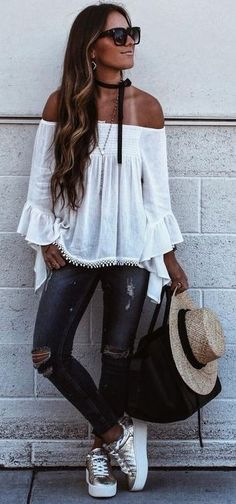 #summer #lovely #outfits    White Off The Shoulder Top + Denim