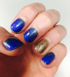 Wedding nails for royal blue and gold theme. Shellac manicure