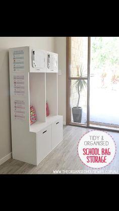 Organised school bag storage