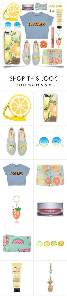 """""""Peachy"""" by seasidedreaming ❤ liked on Polyvore featuring Shiraleah, Casetify, Soludos, Illesteva, Wildfox, Kate Spade, Arcona, Buxton, York Wallcoverings and Accessorize"""