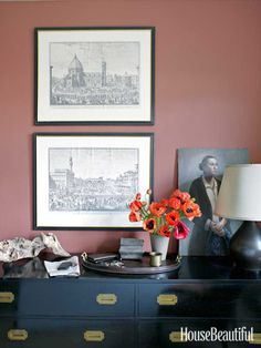 In a Manhattan apartment designed by Alexander Doherty, two 19th-century drawings of Florence join an unframed Evelyn Page portrait above the master bedroom's midcentury bureau.