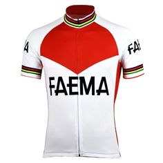 The Retro 1969 Eddy Merckx Faema Cycling Jersey brings the rare style of the Faema professional team of the late 60's to a high-quality Quick-Dry breathable polyester fabric. This rare and unique jersey only worn for two years on tour comes with a hidden full-length zip and three reinforced stitched back pockets. Print