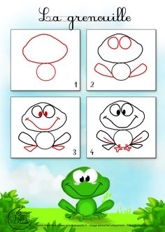 How to draw a froggie Art Drawings For Kids, Doodle Drawings, Drawing For Kids, Cartoon Drawings, Animal Drawings, Doodle Art, Easy Drawings, Art For Kids, Basic Drawing