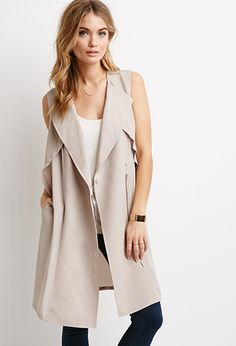 Dropped-Lapel Trench Vest - Jackets & Coats - 2000097194 - Forever 21 UK