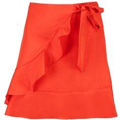 Boohoo Kayla Ruffle Front Tie Waist Woven Mini Skirt (52 PEN) ❤ liked on Polyvore featuring skirts, mini skirts, red mini skirt, red midi skirt, red maxi skirt, midi skirt and circle skirts