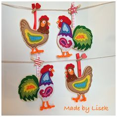 As in life... ever man needs his woman so this time I made a hens for those two roosters , felt birds